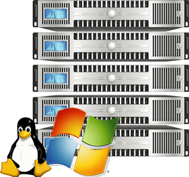 rack servers stacked linux windows server