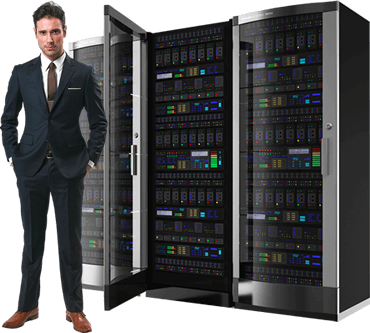 man in front of server rack cabinets